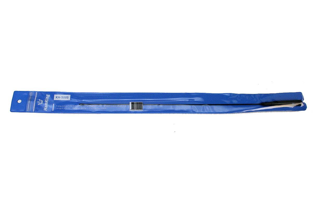 HAMKING HKKH500S Antena walkie 144/430 Mhz longitud 44 cm conector SMA MACHO. HamKing HKKH-500 S es una antena adecuada para muchas de los walkies talkies portátiles. La antena es flexible cubre las bandas de 144 MHz y 430 MHz. Ofrece ganancia adicional, en comparación con la mayoría de las antenas originales. Conector: SMA-macho, longitud: 44 cm (aprox. 18¨).
