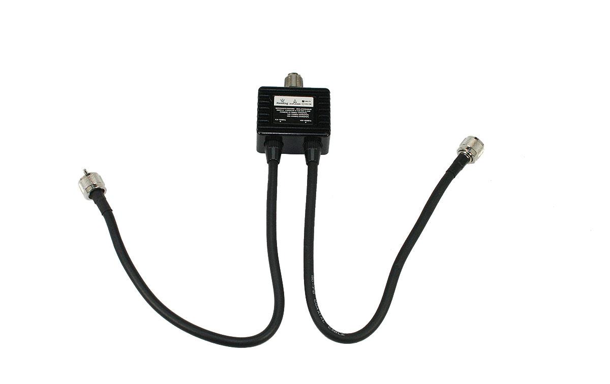 HAMKING HKMX72 Duplexor con latiguillos HF/VHF/UHF1 PL Hembra x 2 PL Macho, frecuencias 1,6-30-140-150-400-460 Mhz