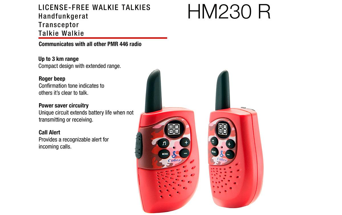 COBRA HM-230-RED Pareja de walkies PMR uso libre color rojo, Alcance de hasta 3 kilómetros: diseño compacto y liviano, Ahorro de energía: el circuito exclusivo prolonga la vida útil de la batería cuando no se transmite o recibe.Tono Roger: el tono de confirmación indica a los demás que es claro hablar.