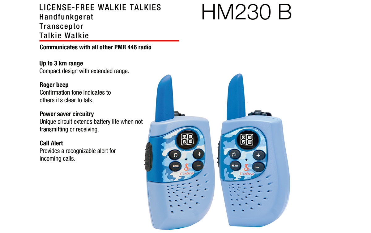cobra hm-230blue pareja de walkies pmr