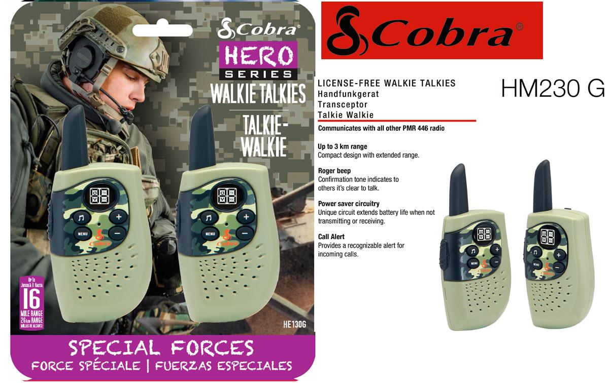COBRA HM-230-GREEN Pareja de walkies PMR uso libre color verde, Alcance de hasta 3 kilómetros: diseño compacto y liviano, Ahorro de energía: el circuito exclusivo prolonga la vida útil de la batería cuando no se transmite o recibe.Tono Roger: el tono de confirmación.