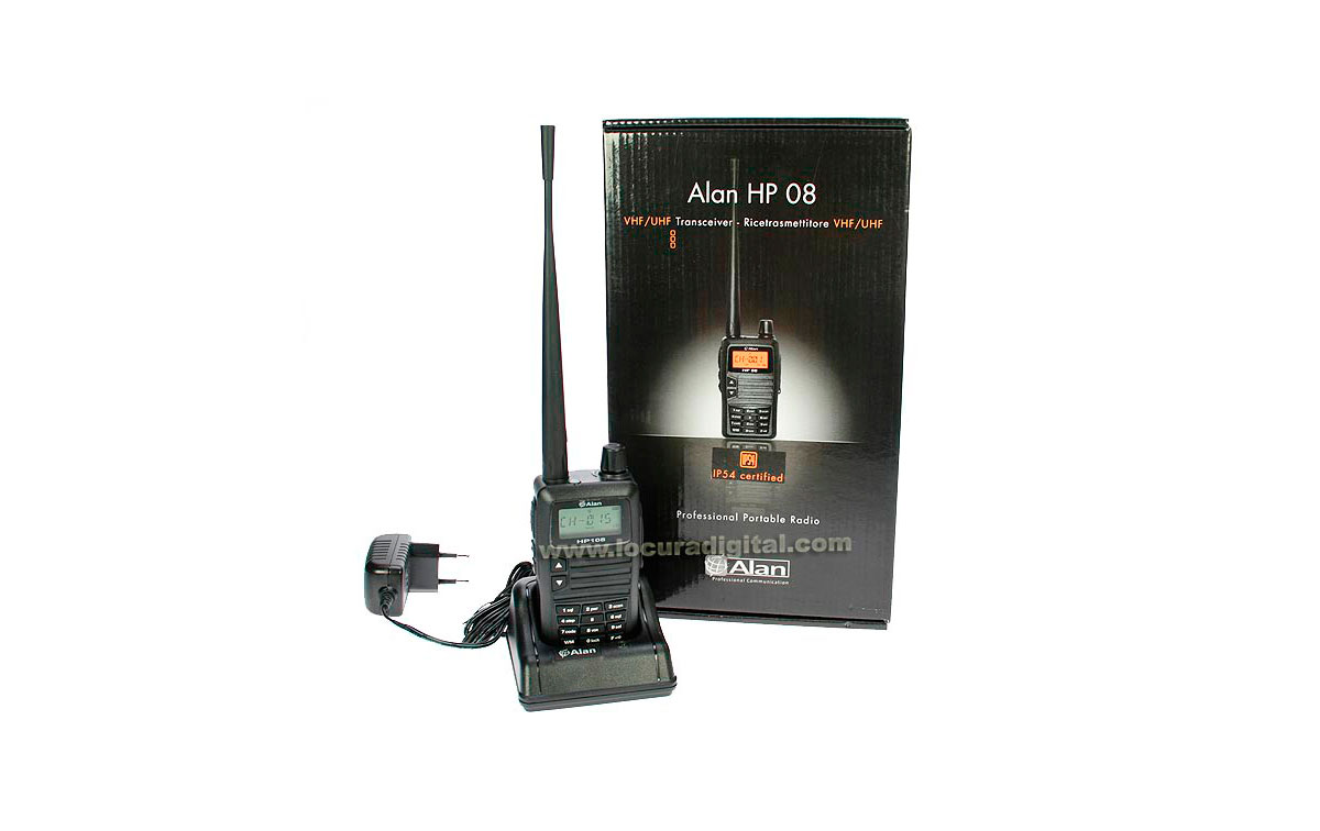 HP108 ALAN-MIDLAND walkie profesional programable VHF 136-174 Mhz. Canales 180 memorias