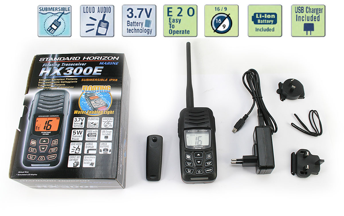STANDARD HORIZON HX300E Walkie VHF banda Marina IPX8 sumergible