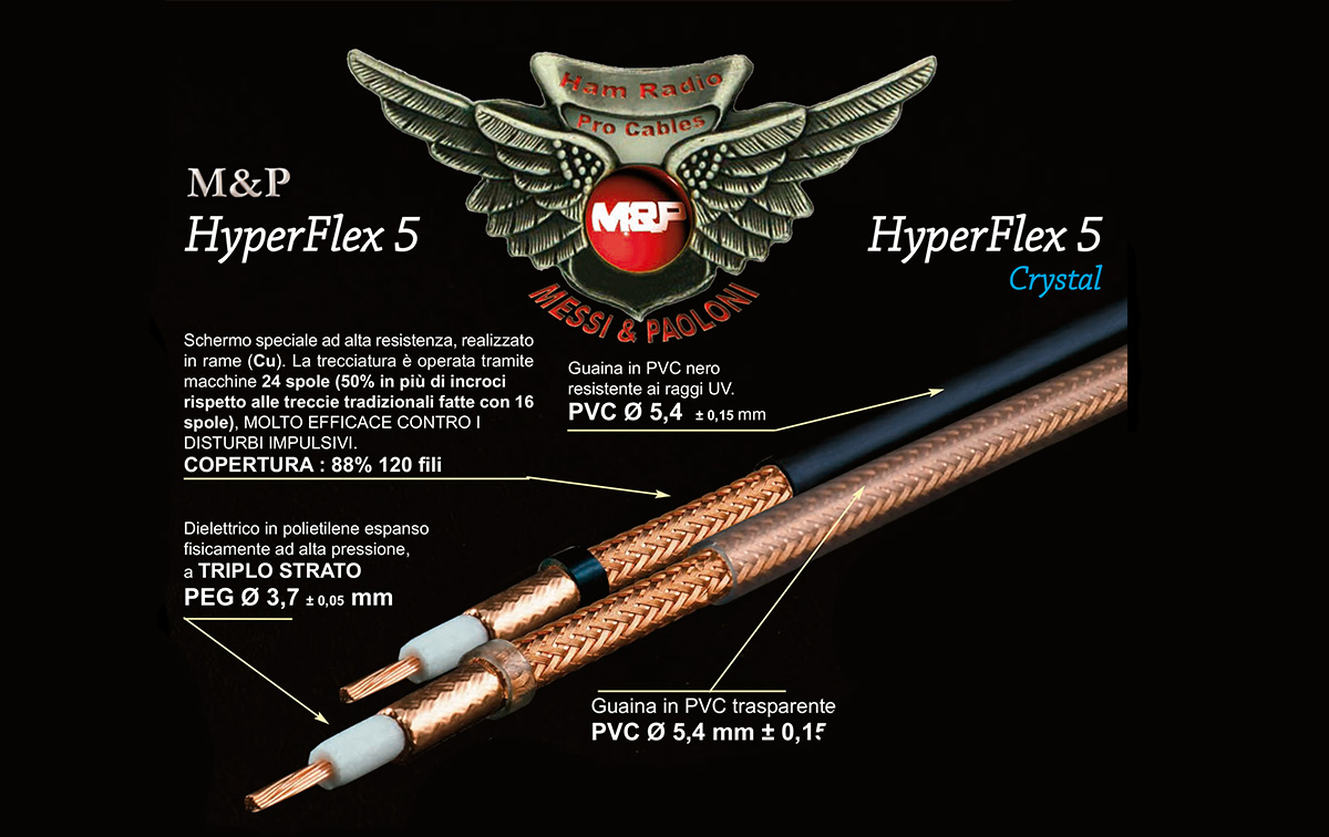 HYPERFLEX-5 M&P Cable Coaxial alta calidad profesional Diametro 5,4 mm. Vivo trenzado 3,8 mm. Flexibilidad extrema: un conductor central de cobre sofisticado ( 19 cables en lugar de 7 )