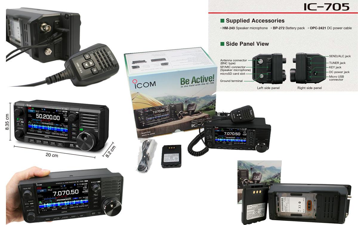 icom ic-705 transcetor base y portatil hf vhf/uhf 50-144- 430mhz -gps con 10 watios
