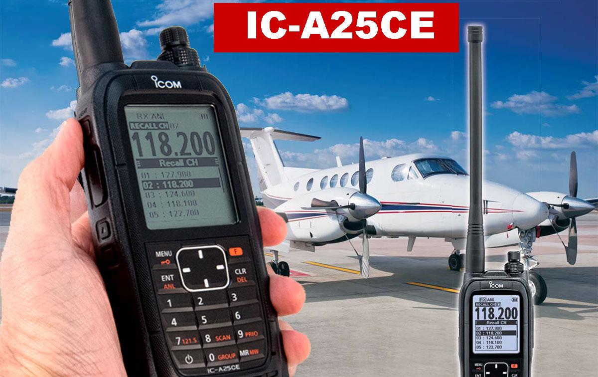 ICA25CE ICOM Walkie Banda Area 118 - 137 mhz potencia 6W, resistente al agua/polvo normativa IP57.