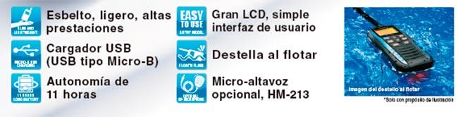 icm25-azul portátil vhf banda marina color azul ipx7