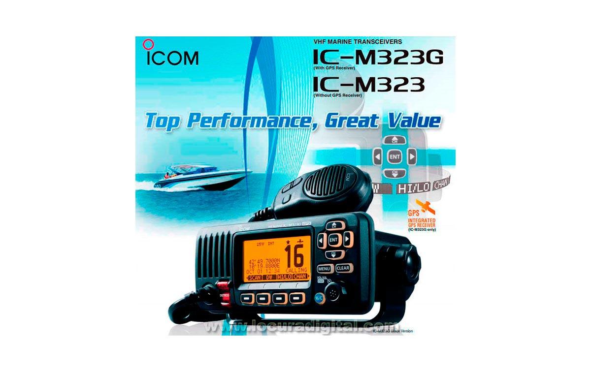 ICOM IC-M323G Emisora de base banda marina con GPS + IPX7 ,  frecuencias 156- 161 MHz. Color negra