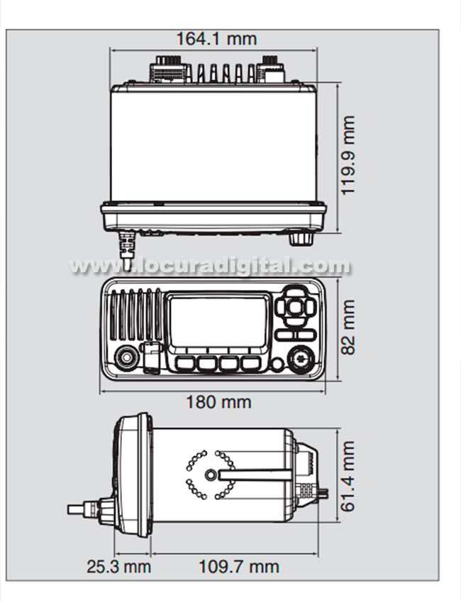 icom ic-m323g emisora de base banda marina con gps ipx7 , frecuencias 156- 161 mhz. color blanco.
