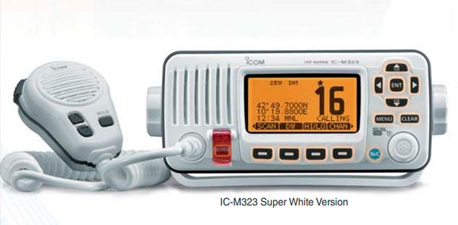 ICOM IC-M323G Emisora de base banda marina con GPS   IPX7 , frecuencias 156- 161 MHz. Color blanco