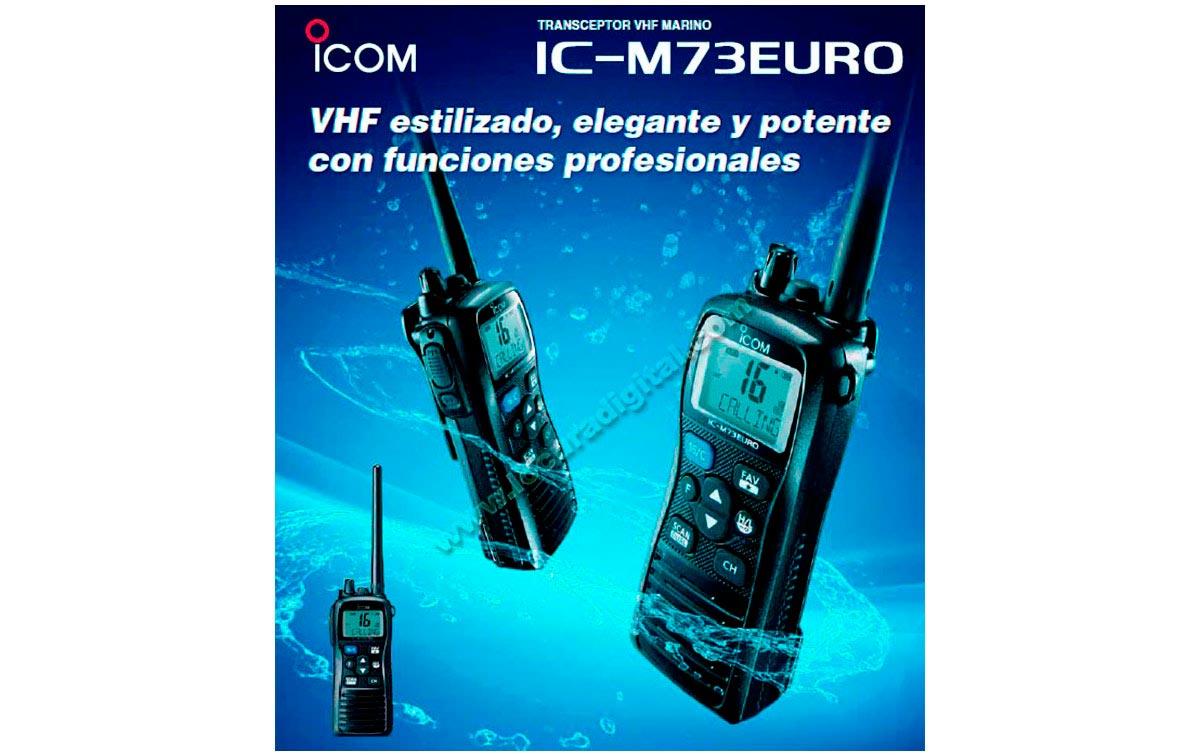 IC-M73 Walkie  Marino  VHF proteccion IPX8, Cancelador ruido+Grabación Alta  potencia  6 Watios