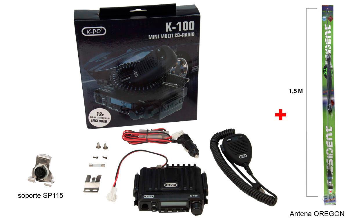 K100V2 OREGON K-PO EMISORA MINI CB 40 AM/FM 27 mhz conector mechero incluido 12 voltios, facil instalacion.