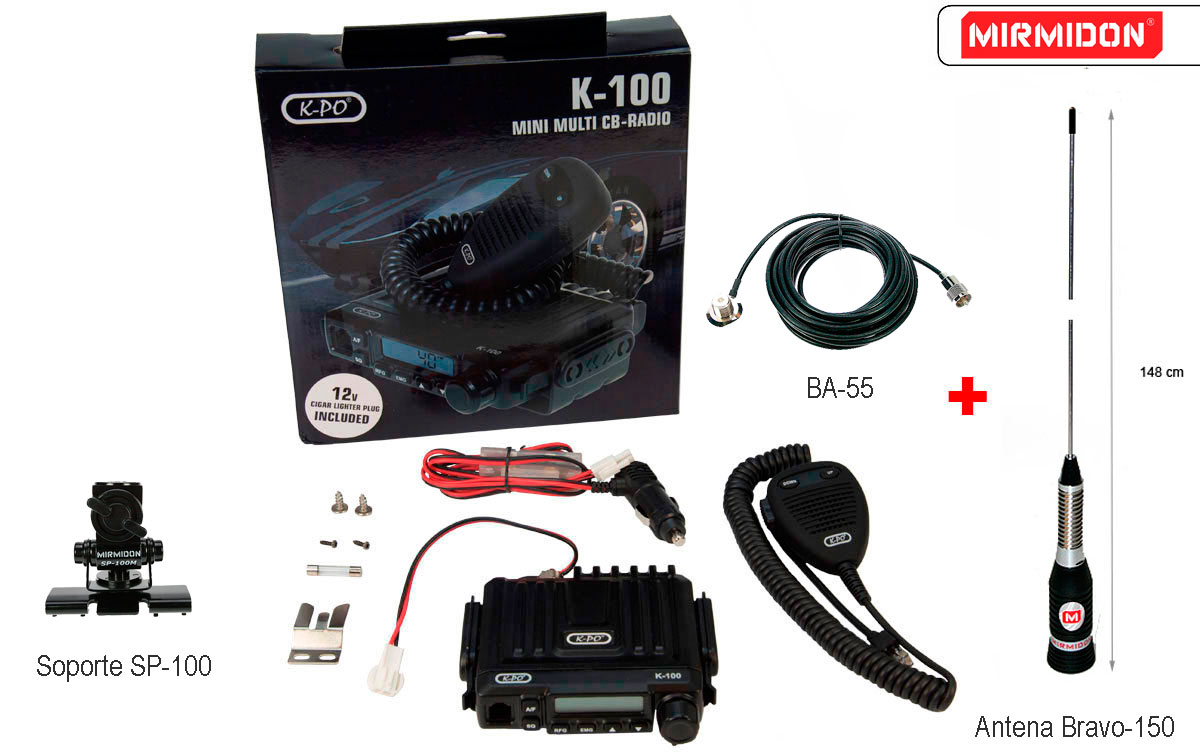 K100V3 BRAVO K-PO EMISORA MINI CB 40 AM/FM 27 mhz conector mechero incluido 12 voltios, facil instalacion.