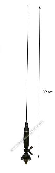 Antenas con inclinacion 180� y tornillo de seguridad. Con 4 metros de cable RG 58 . Muy utilizada por el transportista.