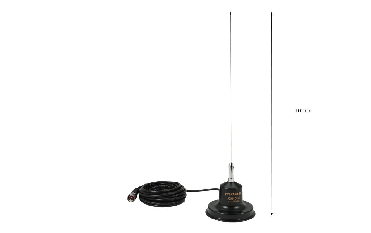MAAS KM-500 Antena con base magnetica CB 27 Mhz Longitud 1 mts