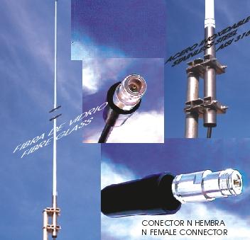 KAD440 Antena profesional UHF colineal de fibra vidrio.Fre. 430-450 Mhz .7,65 dBi.