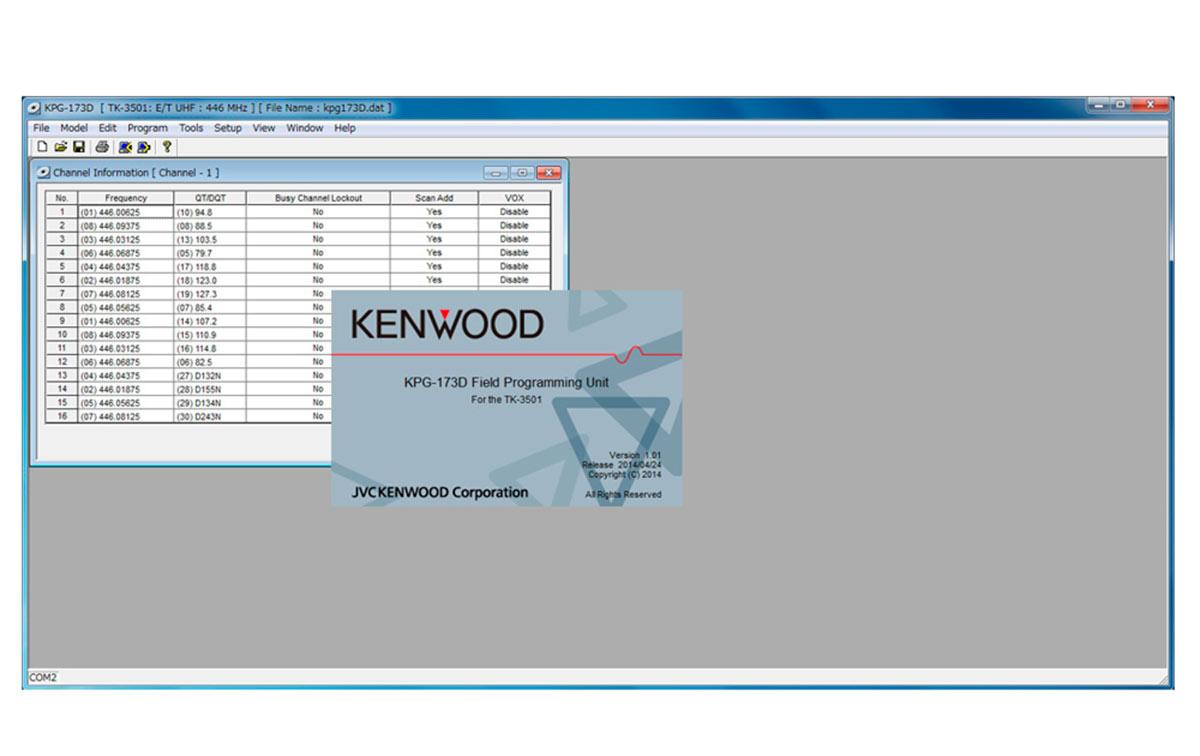 KPG173D software de programacion walkie TK3501
