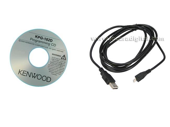 KPG182D Cable de programación USB a MICRO-USB B,   SOFTWARE de gestion para KENWOOD PKT-23. Además de datos, este cable puede servir para cargar el walkie desde un ordenador por el propio conector del aparato.