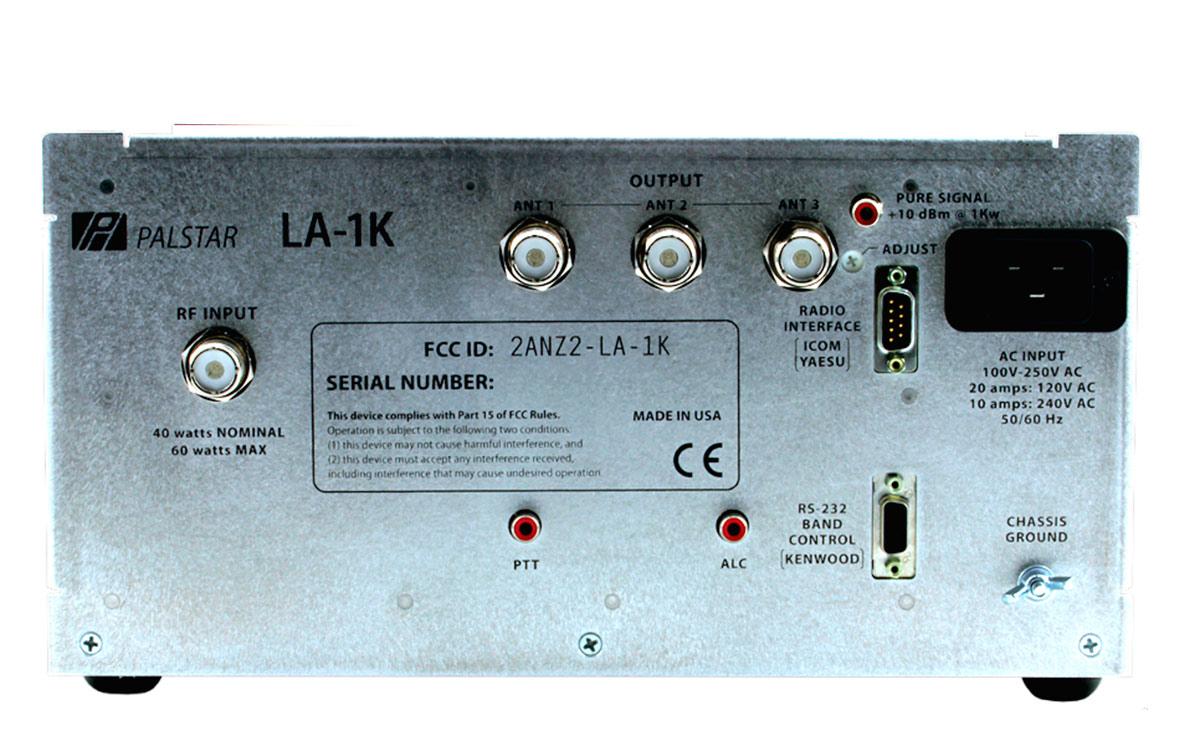 LA-1K Amplificador Palstar de HF potencia 1000 watios. El LA-1K es un amplificador de 1000 vatios de HF LDMOS detección dual de RF. Mientras que el LA-1K funcionará con una amplia variedad de sintonizadores y transceptores, Palstar esta diseñado a la medida para que el LA-1K funcione como la combinación perfecta para nuestro popular autotuner HF-AUTO.