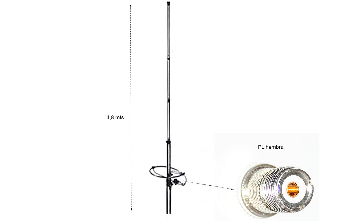 lemm-ringo-12 antena de base cb 27 mhz de aluminio 1/2 onda.