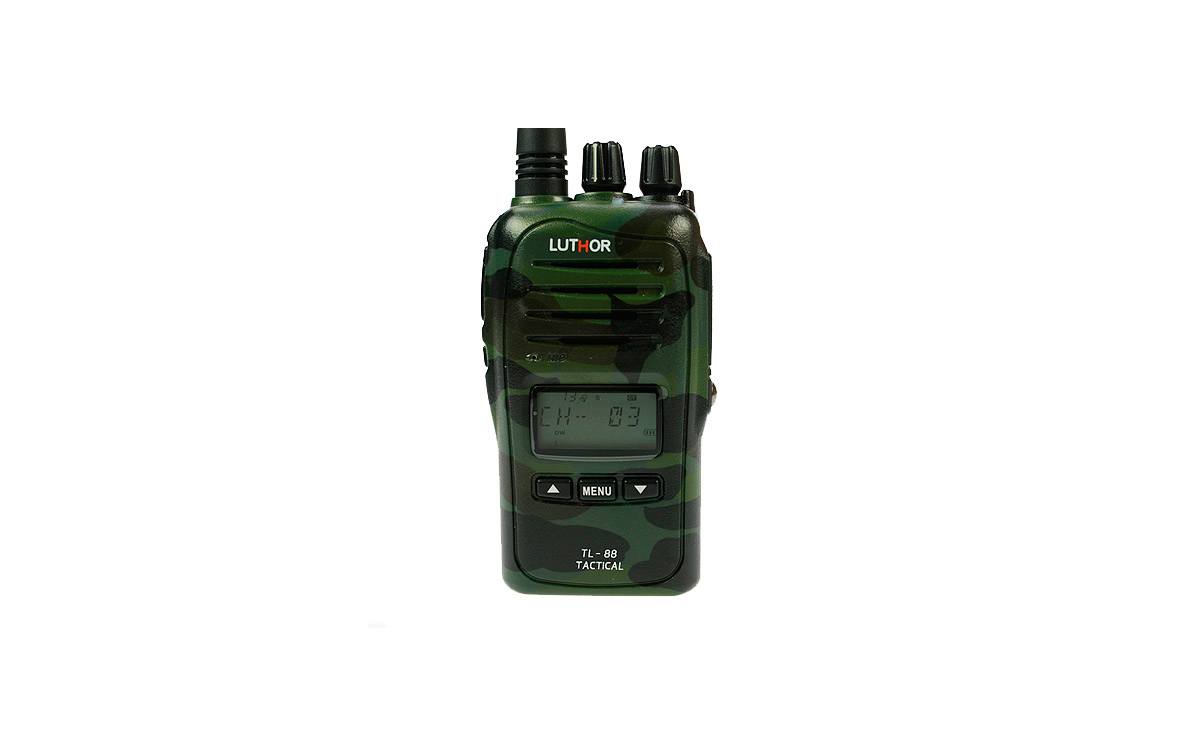 LUTHOR TL88 TACTICAL  KIT1 PROFESSIONAL PMR 446 HANDHELD CAMOUFLAGE GREEN COLOURS FOR FREE USE WITHOUT LICENSE. Rubber Earphone FOR FREE. NEW MODEL!!!
