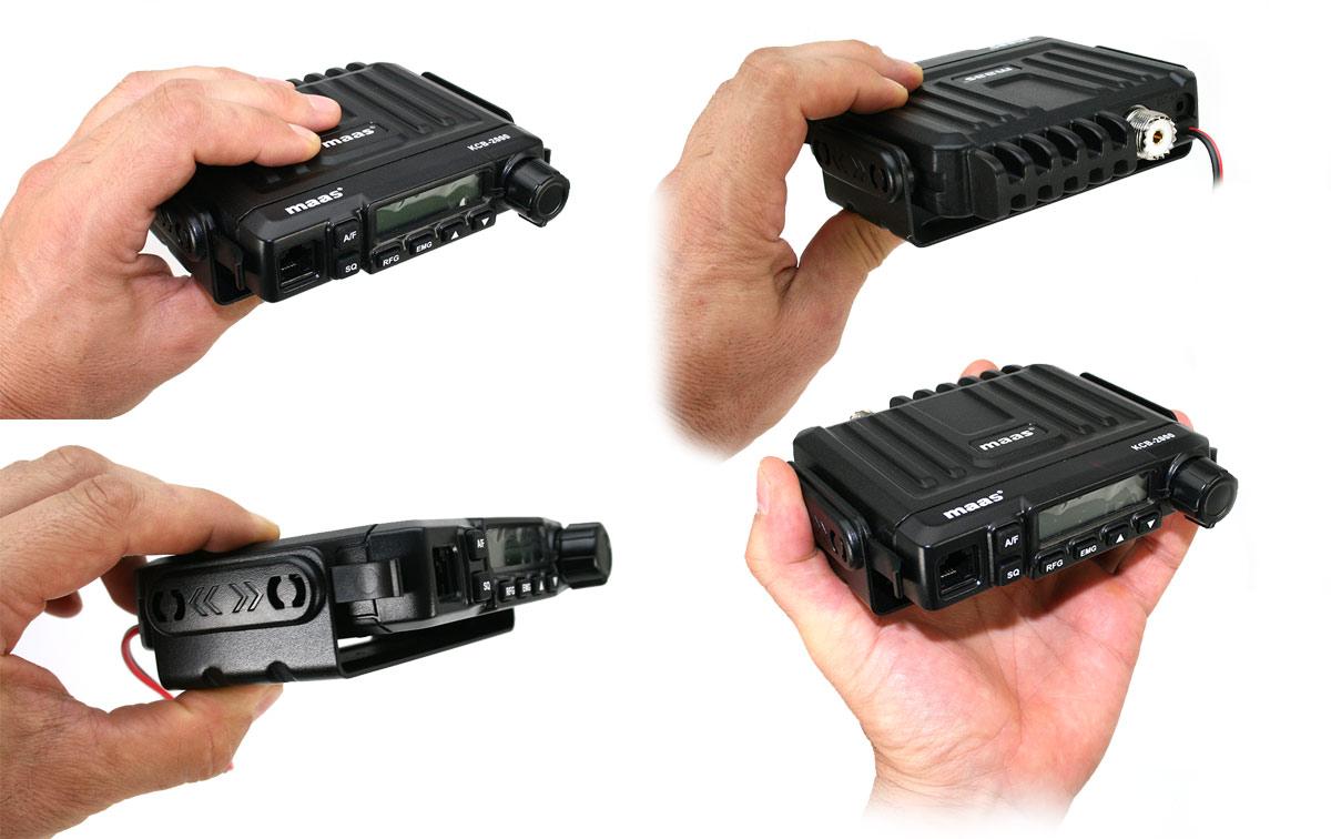 radio cb multinorma en una robusta carcasa mini 120 x 110 x 27 mm con micrófono vox manos libres