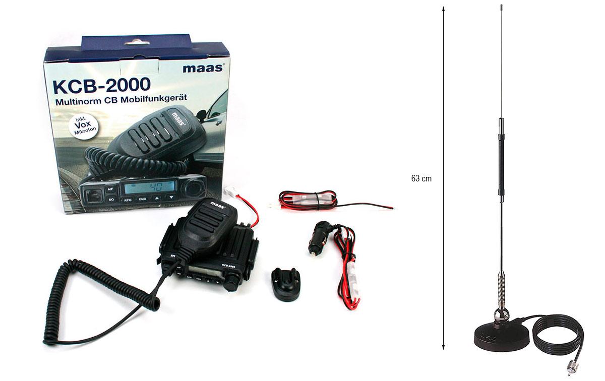 maas kcb 2000 kit-01 compuesto de antena con base magnetica sirio mini mag-27,
