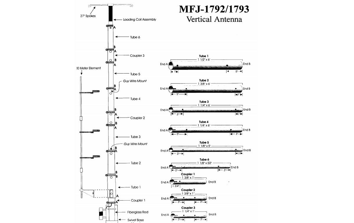 mfj1793 mfj antena hf vertical 20/40/80 mts. longitud 10 metros.