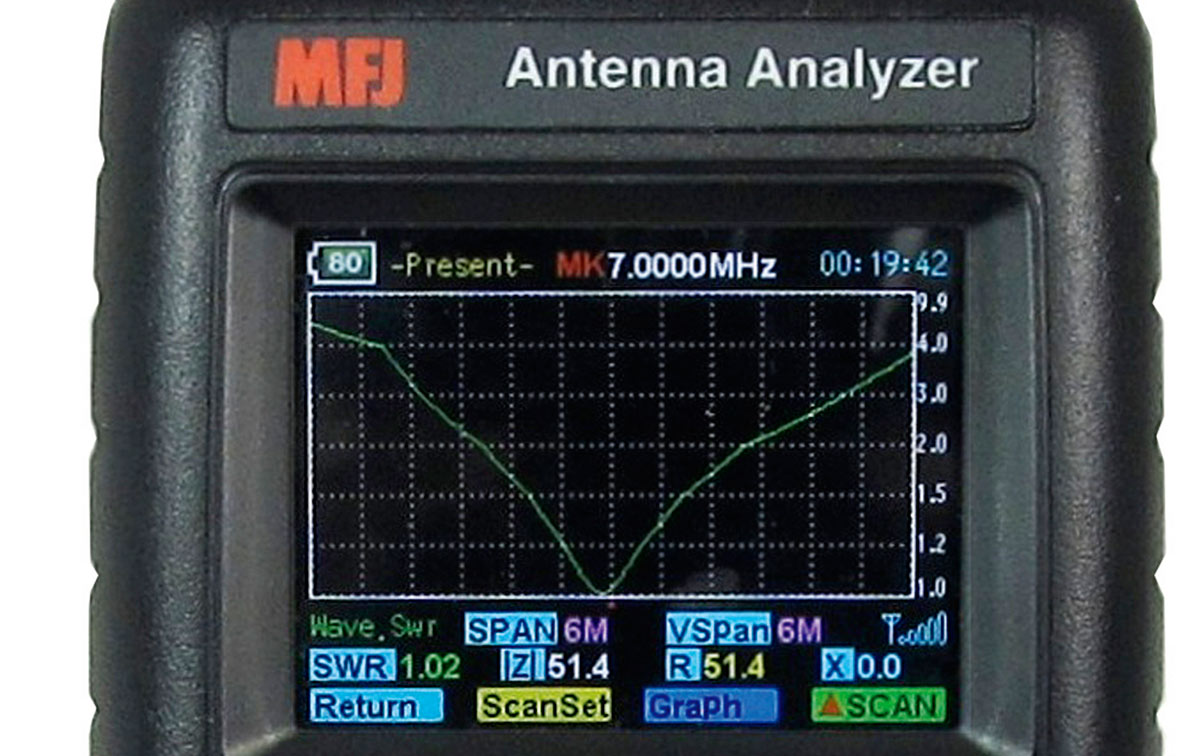 MFJ-223 Analizador antena VNA graficos color 1-60 Mhz