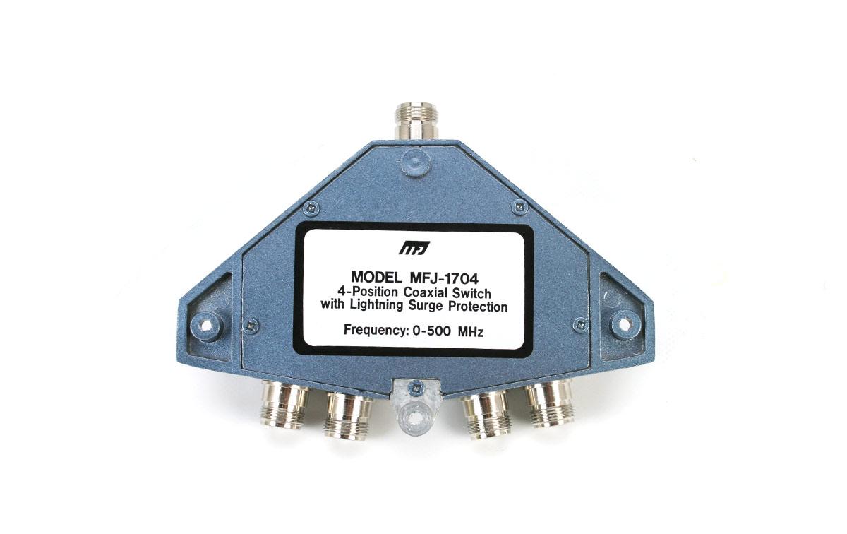 MFJ-1704-N Conmutador conectores N para 4 antenas Frecuencia 0-500 Mhz