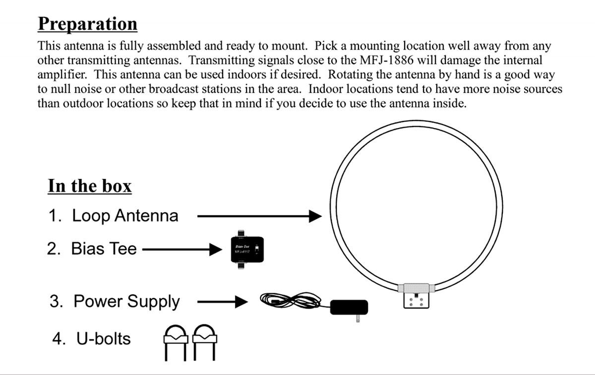 mfj1886x mfj antena recepcion loop 5 a 30 mhz cubre 500 khz am radio, se puede utilizar en interior se recomienta en exterior para su maxima eficiencia.también se instala fácilmente en un trípode o en un mástil de mano para uso portátil. la clave para el rendimiento superior del mfj-1886 es su preamplificador de entrada balanceada. los mmic dobles que funcionan en modo push-pull ofrecen un piso de ruido extremadamente bajo junto con un rango dinámico excepcionalmente amplio para manejar la sobrecarga de los transmisores cercanos