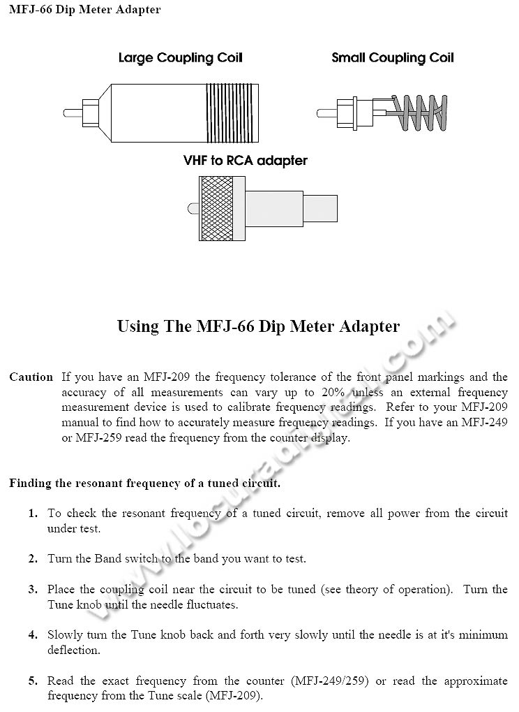 MFJ-66 Dip Meter Coil for MFJ HF / VHF Analyzers.