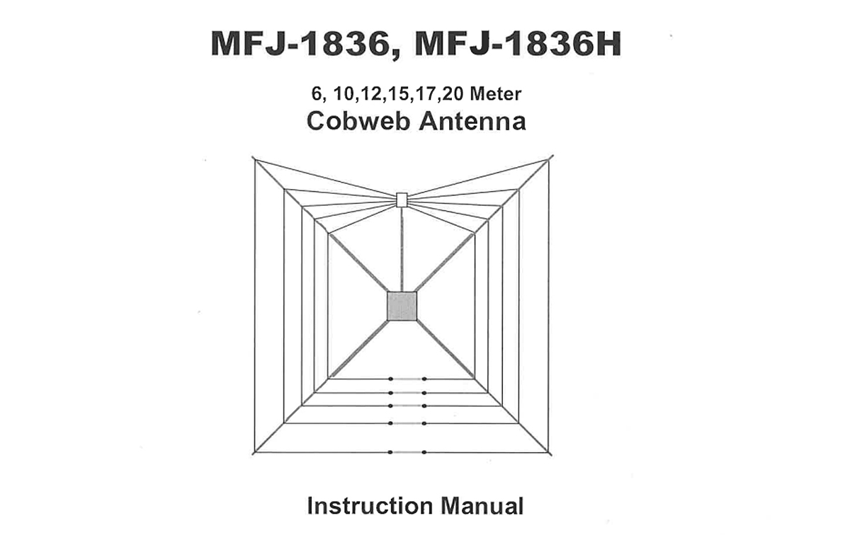 MFJ-1836 Antena COBWEB HF 1/2 onda 6 bandas 6, 10, 12, 15 17, 20 mts