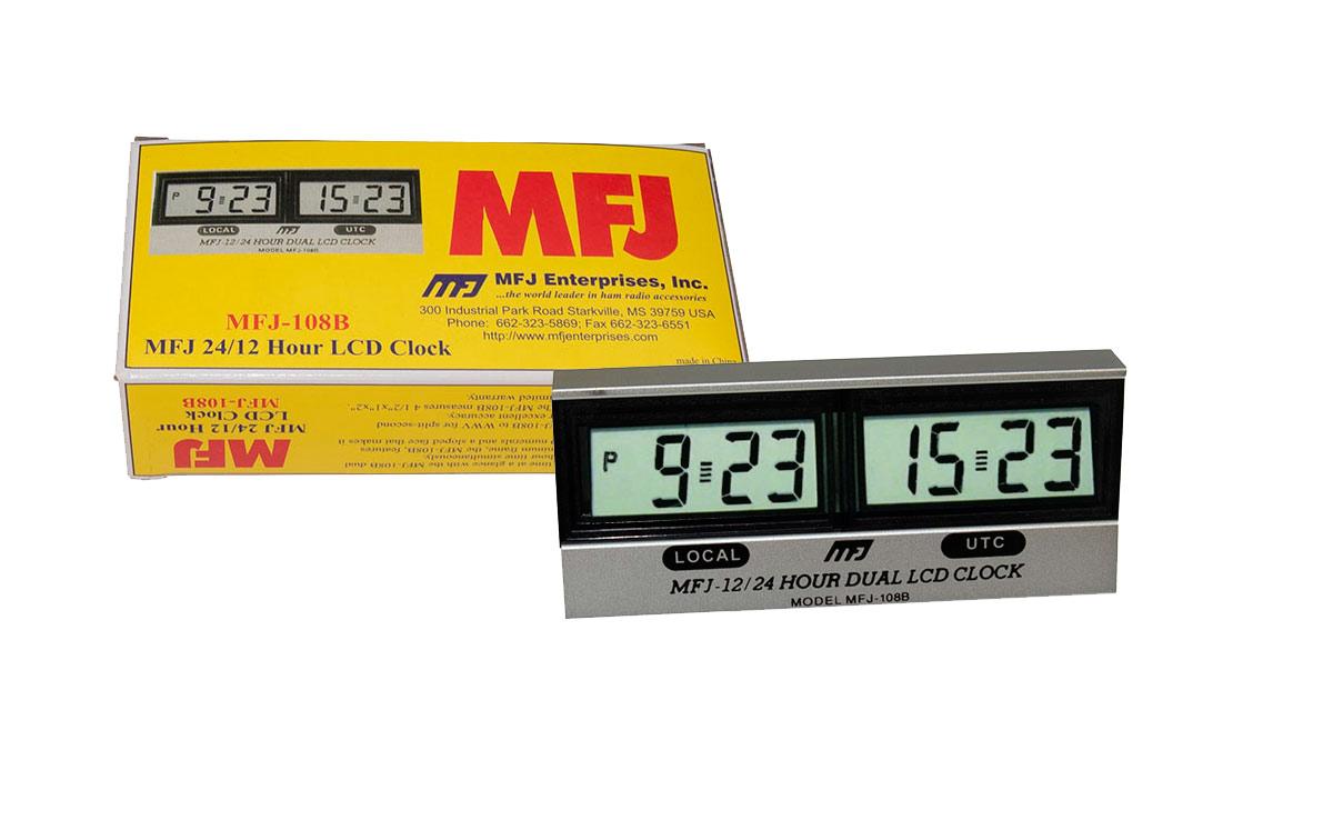 MFJ-108B MJF Reloj 12-24 horas doble LCD, hora local y UTC