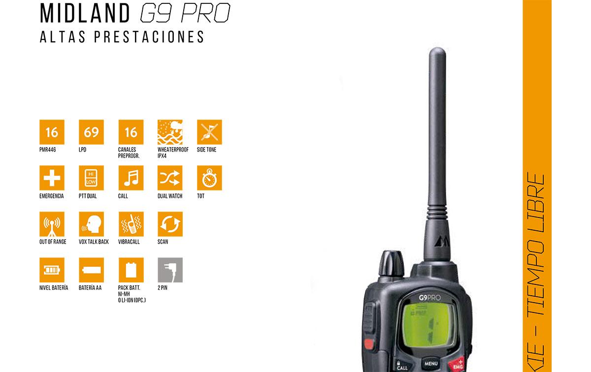 MIDLAND G9-PRO walkie uso libre PMR 446 !! NUEVO MODELO !! MIDLAND G9 evoluciona y se convierte en PRO.
