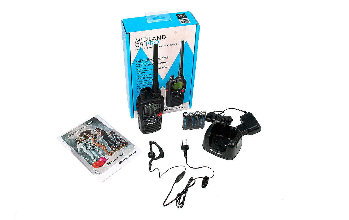 MIDLAND G9-PRO-KIT1 walkie uso libre PMR 446 + Pinganillo PIN19S. MIDLAND G9 evoluciona y se convierte en PRO.