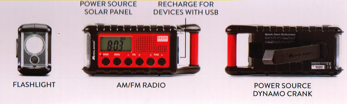 midland ek-300 kit emergencia multiuso radio ,linterna, bateria
