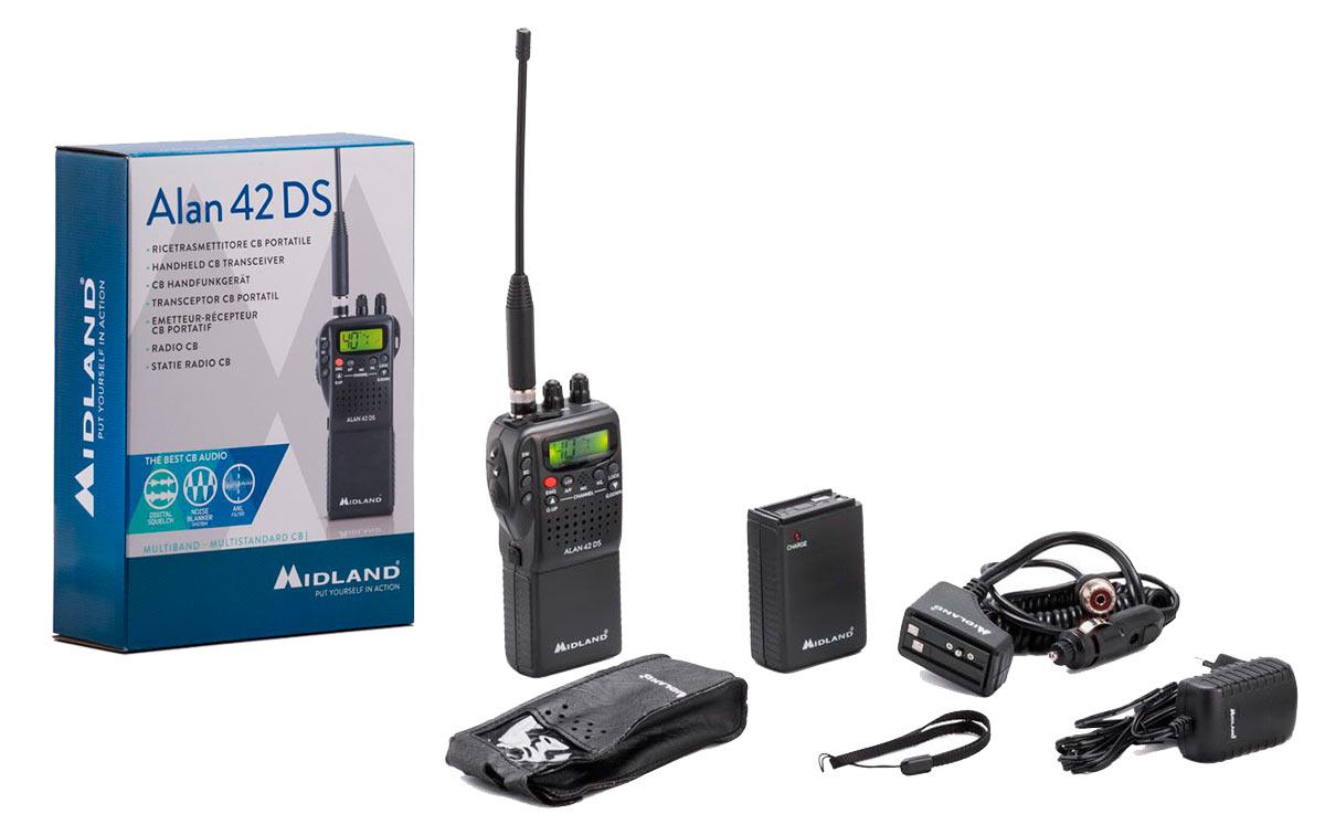 midland 42 ds multi walkie portatil 27 mhz cb 40 canales am/fm diseñado para operar en los 40 canales de la banda ciudadana, este compacto transceptor es fruto de la mas avanzada tecnologia y ha sido construido utilizando los mejores componentes, lo que garantiza el máximo de prestaciones y rendimiento en cualquier condición.