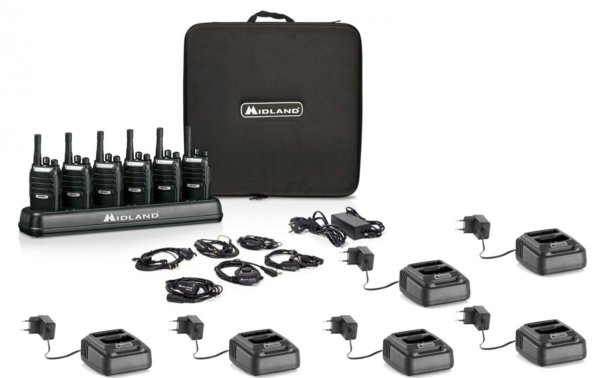 midland br02 pack 6 maleta 6 unidades walkies pmr446 de uso libre