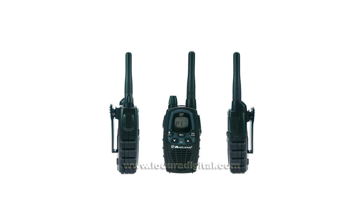 MIDLAND G7E XT HANDHELD. KIT includes: 2 handhelds + 2 desktop charger + 4 RECHARGEABLE BATTERIES + 2 earpnones. NEW MODEL!!