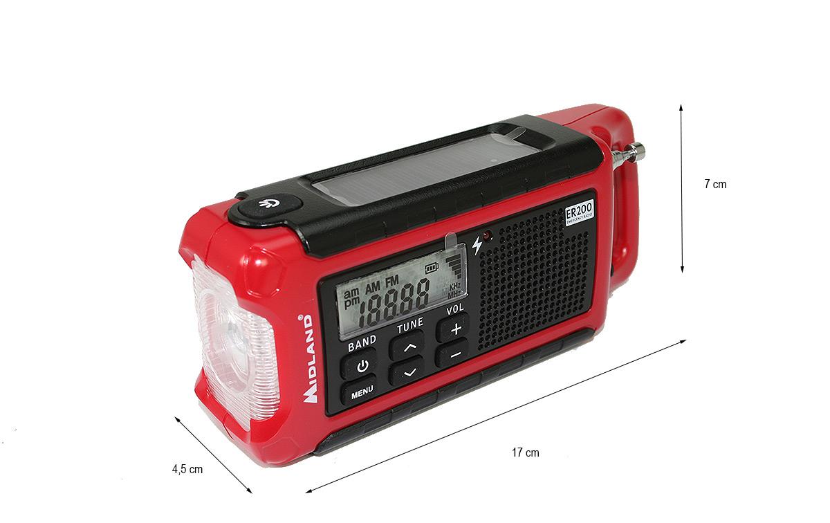 MIDLAND EK-200 Kit Emergencia Multiuso Radio ,Linterna, Bateria