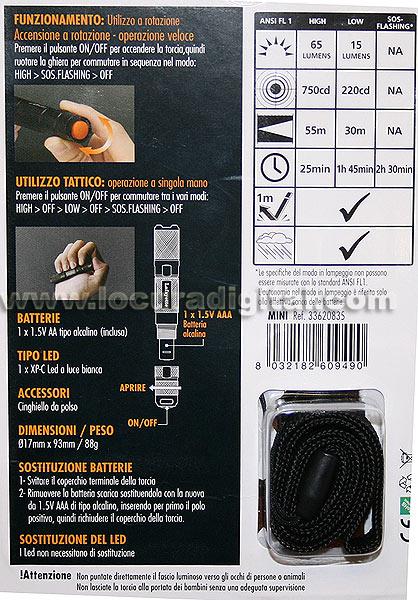 TRMINI LAFAYETTE mini linterna de led CREE alta potencia, 65 lumens