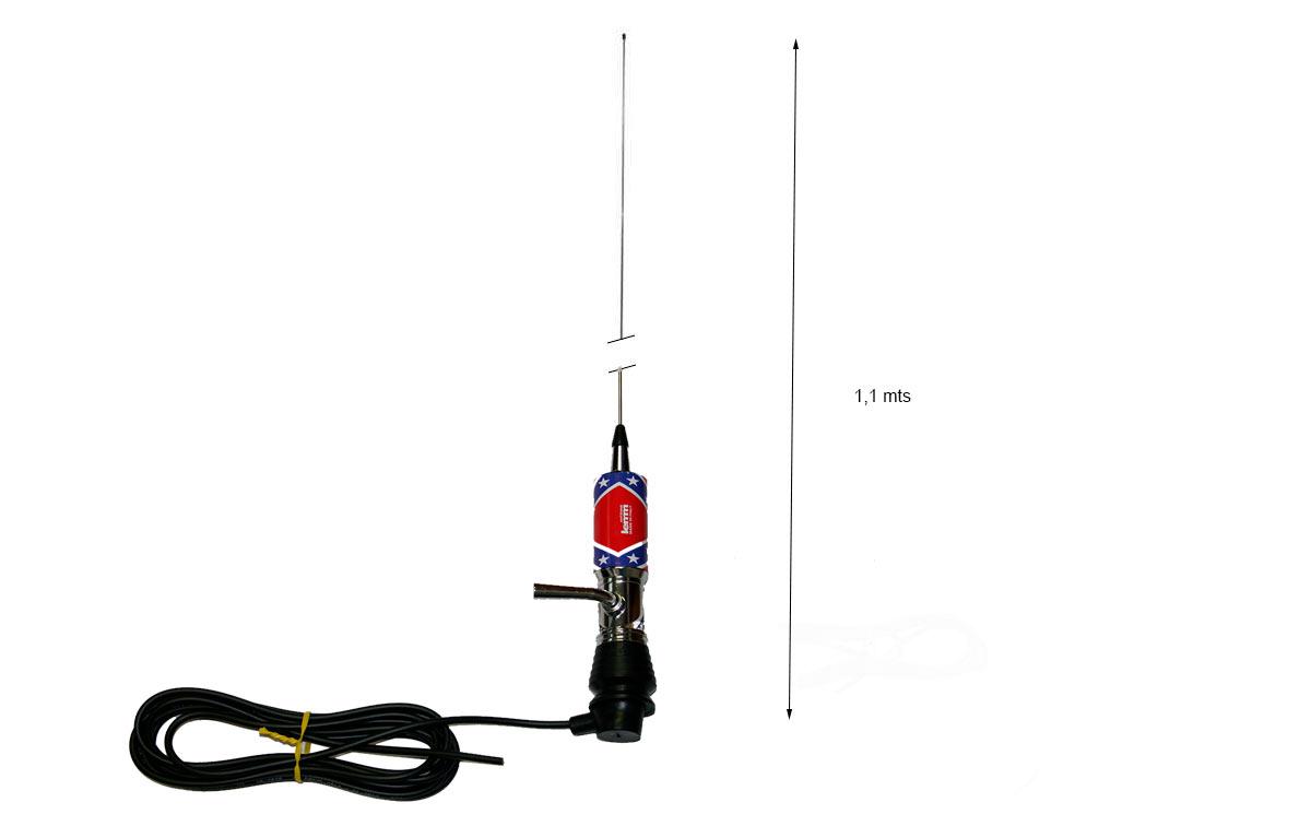 LEMM MINITURBO BANDERA REBELDE. Antena abatible CB 27 mhz Longitud 110 cm.