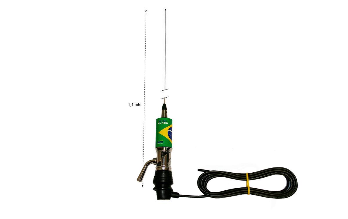 LEMM MINITURBO Bandera Brasil Antena abatible CB 27 Longitud 110 cm
