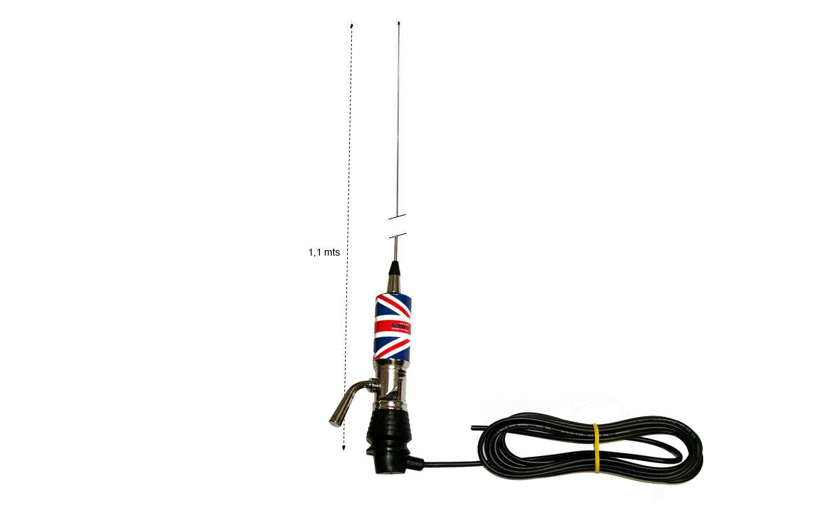 LEMM MINITURBO Bandera UK Antena abatible CB 27 Longitud 110 cm