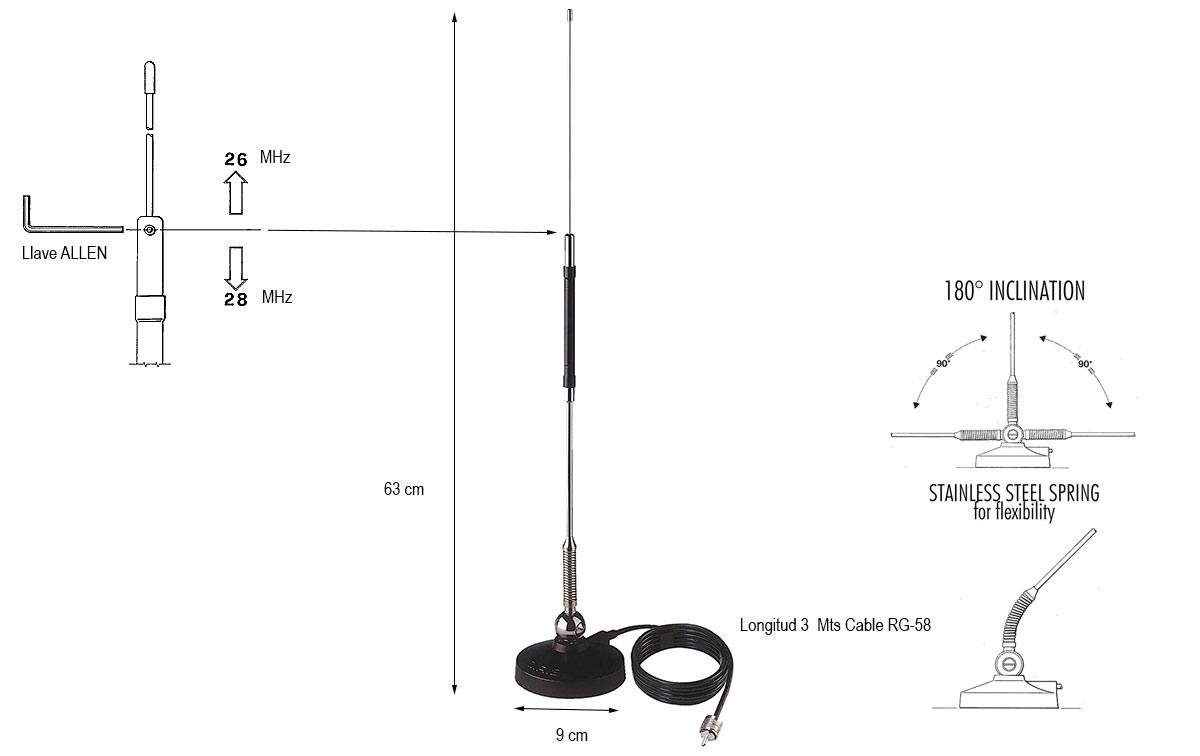Antena de media onda con base magnetica, con muelle y iclinación 180º: Acero inoxidable. Con 3 metros de cable RG 58 conector PL