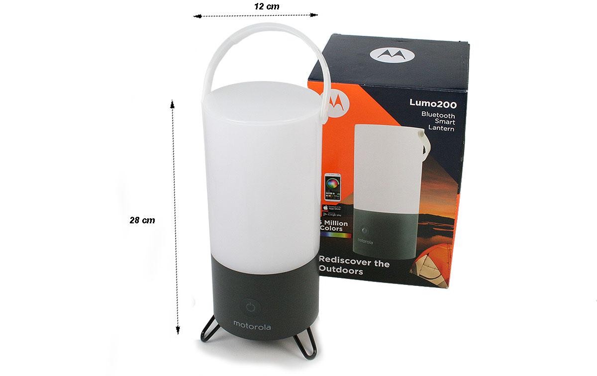 MOTOROLA MSL-200 Linterna 200 lumens tipo farola con Bluetooth, Los clientes pueden ajustar el color a combinaciones prácticamente ilimitadas con su teléfono inteligente, Pueden recibir pronósticos de temperatura, humedad y clima en su teléfono.