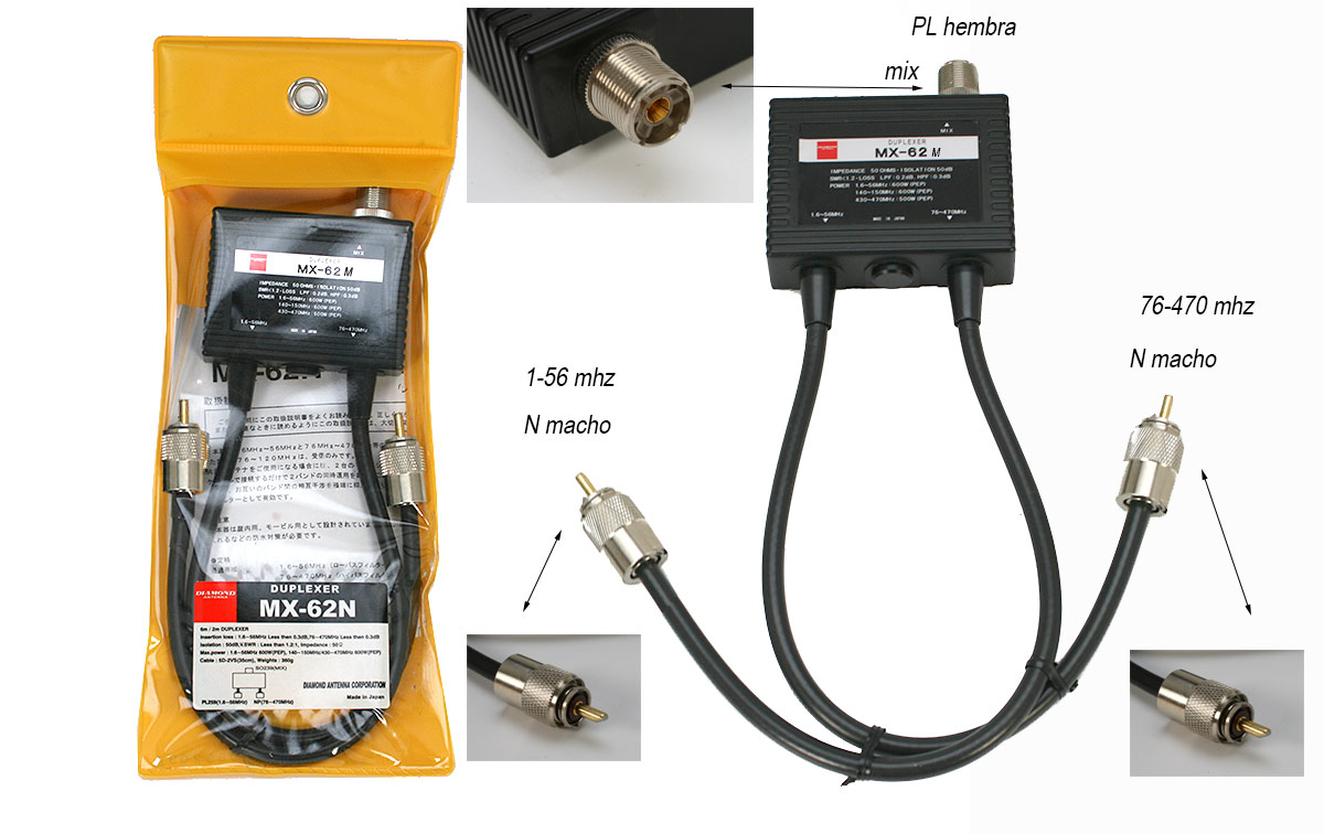 Diamond MX62M Duplexor 1,6-56 MHZ, 76-470 Mhz , valido para FT-857 /897 / FT991A etc.
