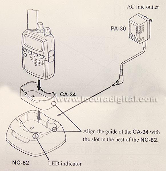 nc 82. cargador de sobremesa para vr 120 adaptador ca-34, no incluye transformador pa30c.