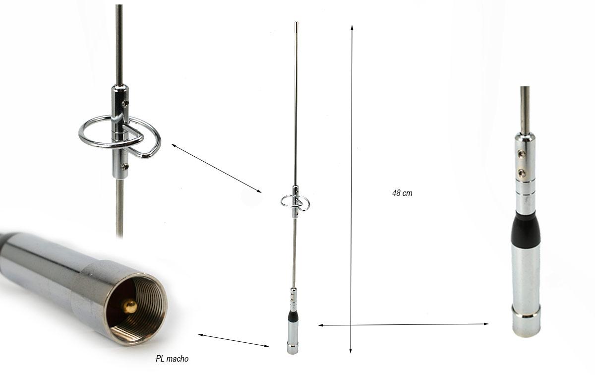 falkos nr770s antena movil doble banda vhf-uhf longitud 48 cms.